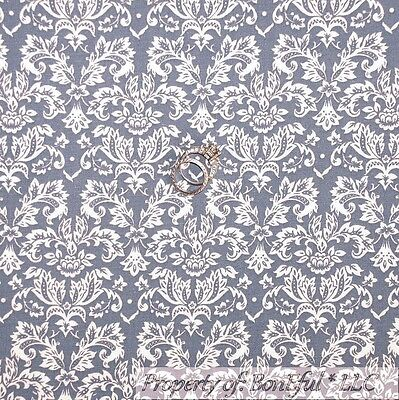 BonEful Fabric FQ Cotton Quilt Gray White Flower Leaf Calico Sm Dot Damask Swirl