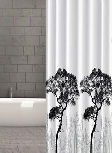 Dettagli su Tenda Doccia in Tessuto Alberi Design 240x200 cm Bianco Nero  Grigio Foresta