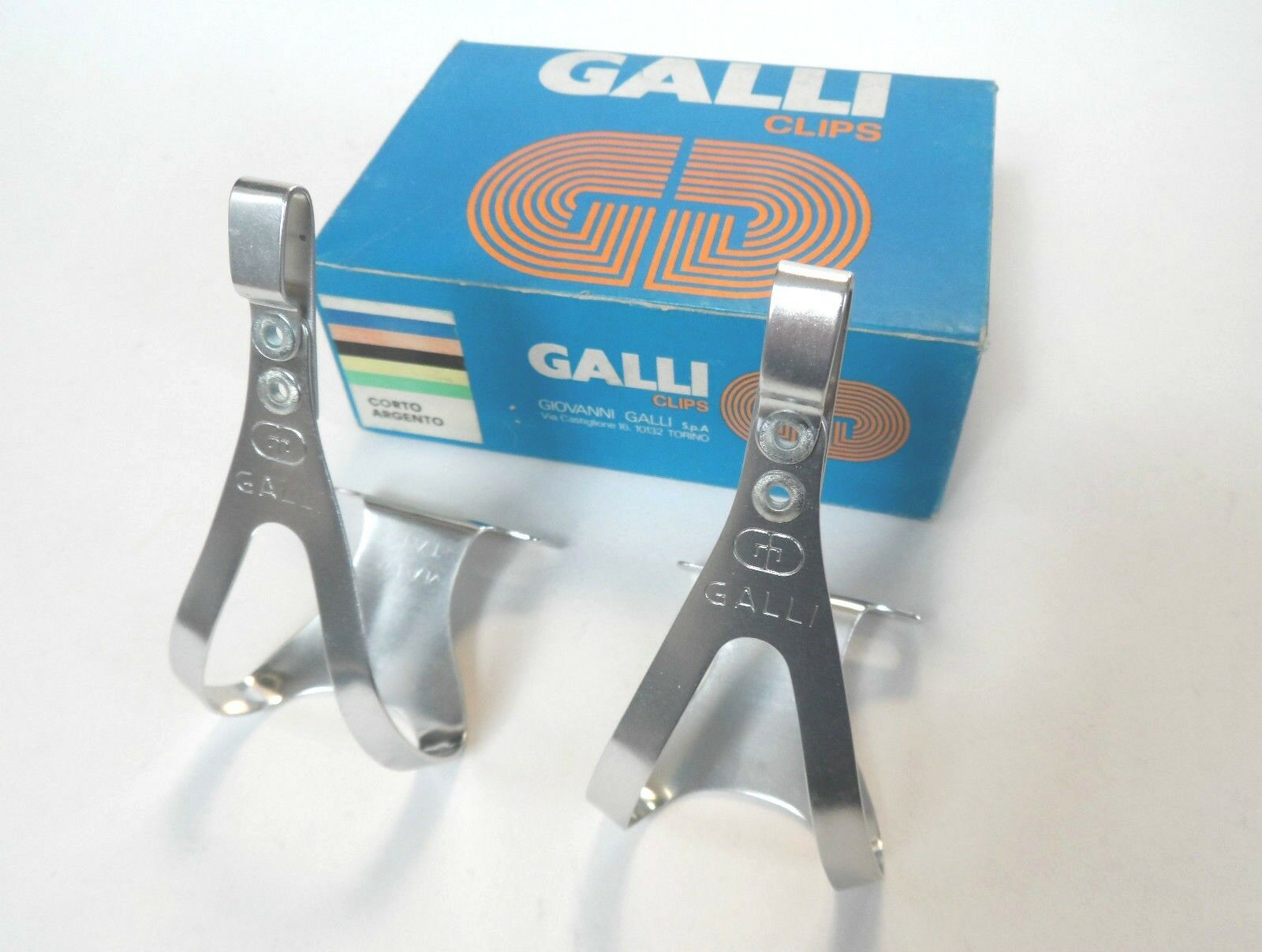NOS Vintage 1970s 80s GALLI (Super Record era) Alu pedal toe clips - small