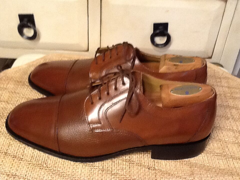 Giorgio Brutini Men's  Brown Leather Lace Up Cap Toe Oxford Dress shoes 10.5 EEE