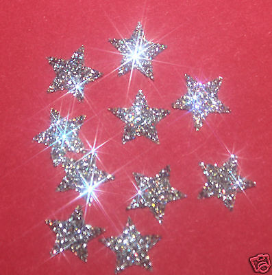30 étoiles BLANCHE 1cm Flex thermocollant GLITTER BLANC HOTFIX
