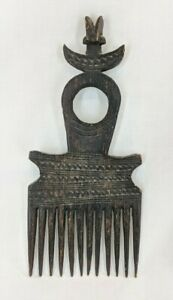 Vintage Zaire Handmade Hair Comb African Carved Wood Over 100 Yrs. Old