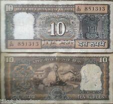 ★★ 10 RUPEE NOTE ~ GANDHI READING BOOK ON BACK ~ LK JHA ~ D12 ~ INSET PLAIN ★★