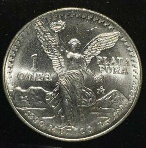 1990-Mexico-Silver-Libertad-Onza-El-Angel-Mexico-Beautiful
