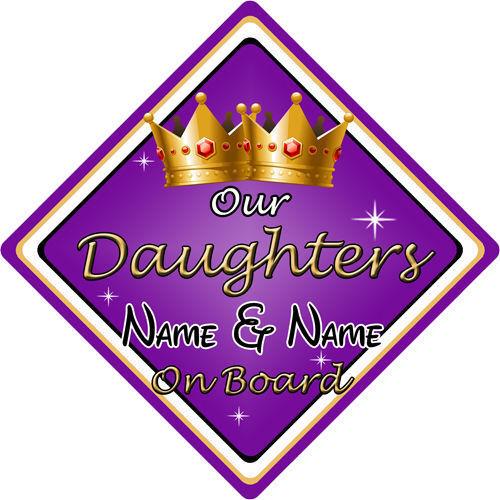 Personalizado De Niño//Bebé A Bordo Coche Firmar ~ nuestras hijas a bordo ~ púrpura