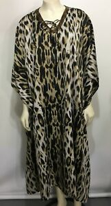 b3fb596c7a Image is loading Dennis-Basso-Leopard-Animal-Print-Caftan-MuuMuu-Lounge-