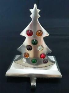 Vintage Pottery Barn White Brass Jeweled Christmas Tree