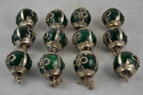 Old Decorated Handwork Green Jade Ball Chinese 12 Zodiac Animal Statue NR