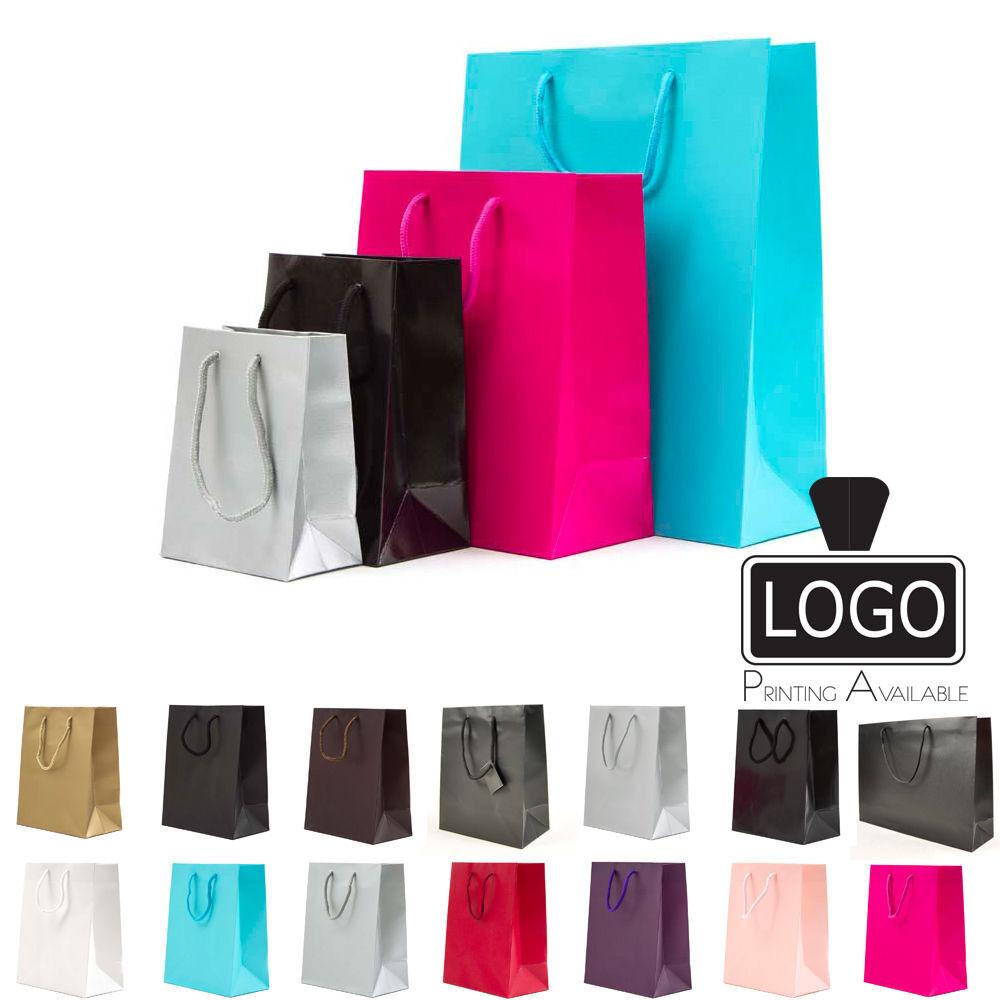 Luxe Papier Sacs Cadeau Papier Sac Porte-sac de fête avec poignées de corde 5 Tailles