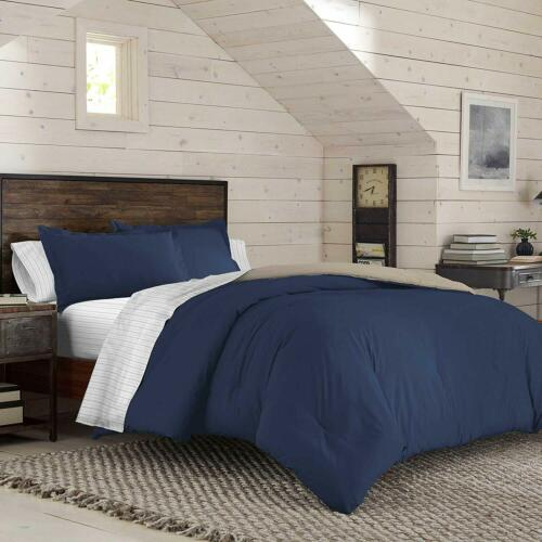 Navy IZOD Solid Dress Blue//Oxford Tan Reversible Bed-in-A-Bag Twin