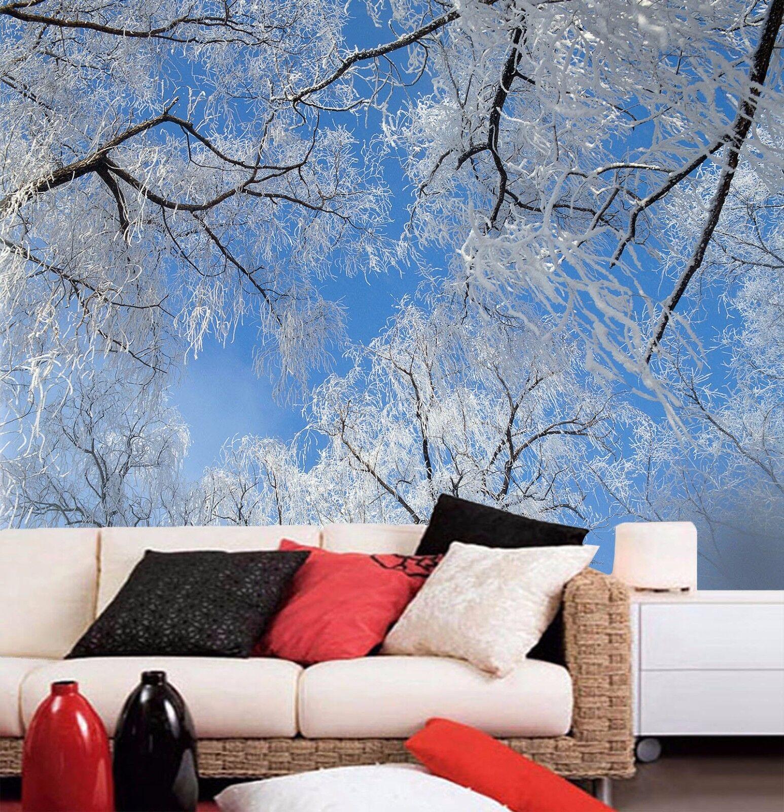 3D Tree White 405 Wallpaper Murals Wall Print Wall Mural AJ WALL AU Summer