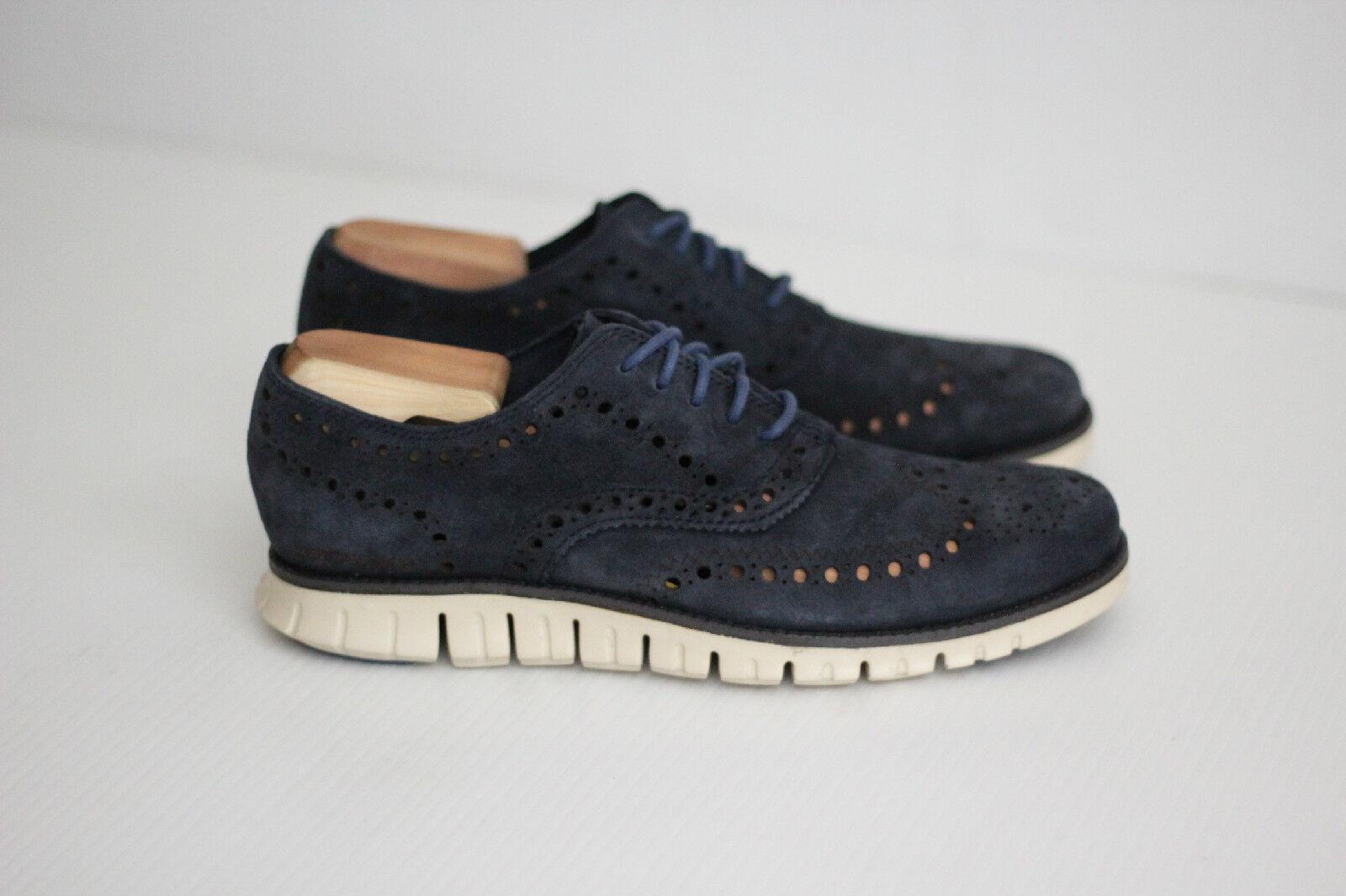 Cole Haan ZeroGrand Wingtip Oxford shoes - Navy bluee Suede - 8 M - C20128  (Y37)