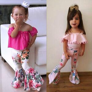 2Pcs-Toddler-Infant-Baby-Kids-Girls-Off-Shoulder-Tops-Floral-Pants-Set-Outfits