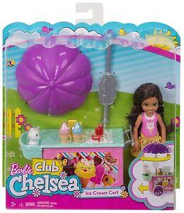 Barbie-Chelsea-animal-de-compagnie-accessoire-Creme-Glacee-Chariot-Ensemble-jeu