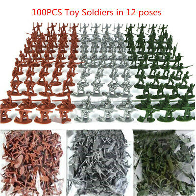 100pcs//Pack Military Plastic Toy Soldiers Army Men Figures 12 Poses 3 colors L2