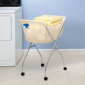 New folding rolling laundry cart frame basket wheels bag white liner ebay - Collapsible laundry basket with wheels ...