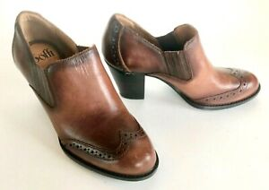 Sofft-Brown-Leather-3-034-Heels-Ankle-Booties-Women-039-s-7-New-Handcrafted-Elegant