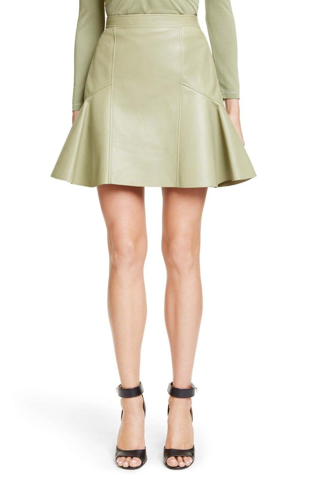 Givenchy Flounce Hem Nappa Läther kjol i mjukt Sage Storlek 40 NWOT