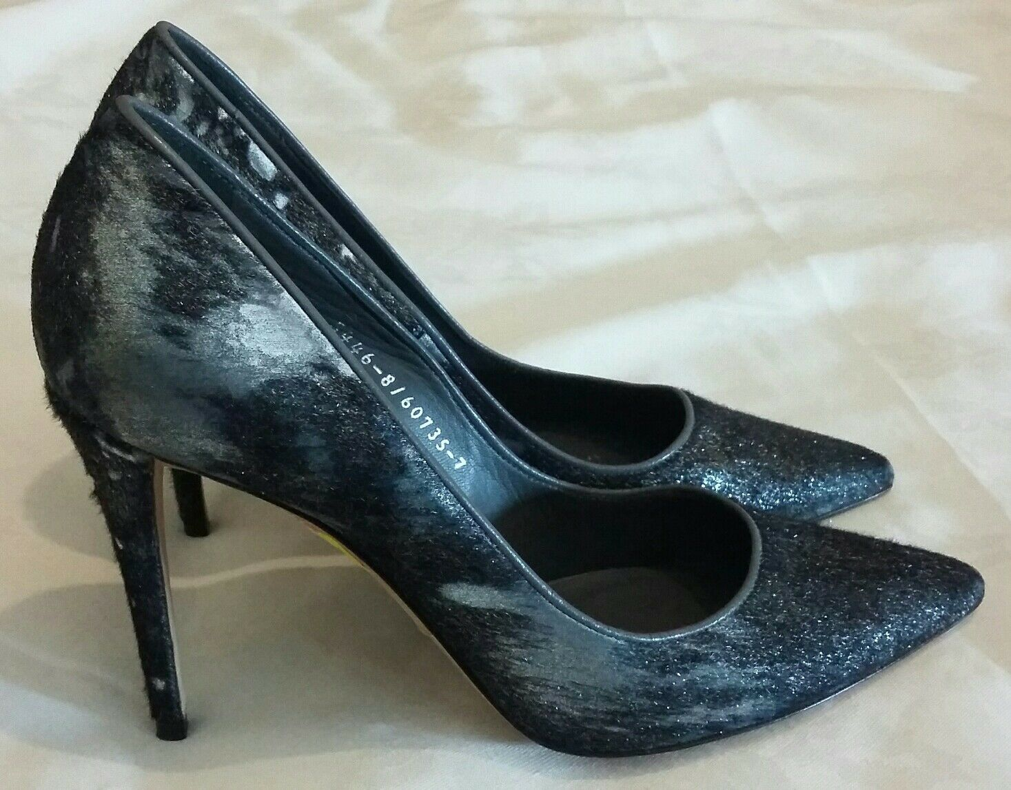 GINA High Heels Pointed Toe Fur Leather Slip-on shoes Black   Silver Uk 7 eu 40