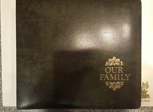 OUR-FAMILY-Photo-Album-Leather-Vintage-16-Portrait-Sleeves-14-034-W-x12-1-4-034-H-x-3-034-D