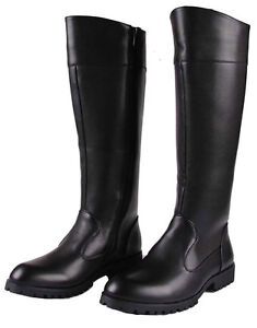 NEW Mens Leather Zip Knee High Riding Military Long Combat Boots ...