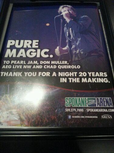 Pearl Jam Rare Framed Original Concert Promo Ad Spokane Arena!