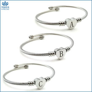 Bracciale da donna braccialetto cuore con lettere iniziali in acciaio incisione