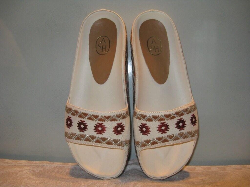 Neu ASH Stoff Pantoffel Schlapfen Damenschuhe Leder Stoff ASH cremfärbig Gr.38 aus Florenz 8a3d40