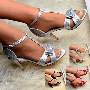 Womens-Satin-Dress-Sandals-Bow-T-bar-Diamante-Shoes-Strappy-Heels-Open-Wedding