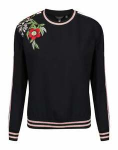 NEW-Ted-Baker-Embroidered-Trim-Sweater-in-Black-Size-5-US-12-S2096
