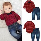 2pcs Kids Baby Boy Romper Bodysuit Jumpsuit Tops+Jeans Pants Outfits Clothes Set