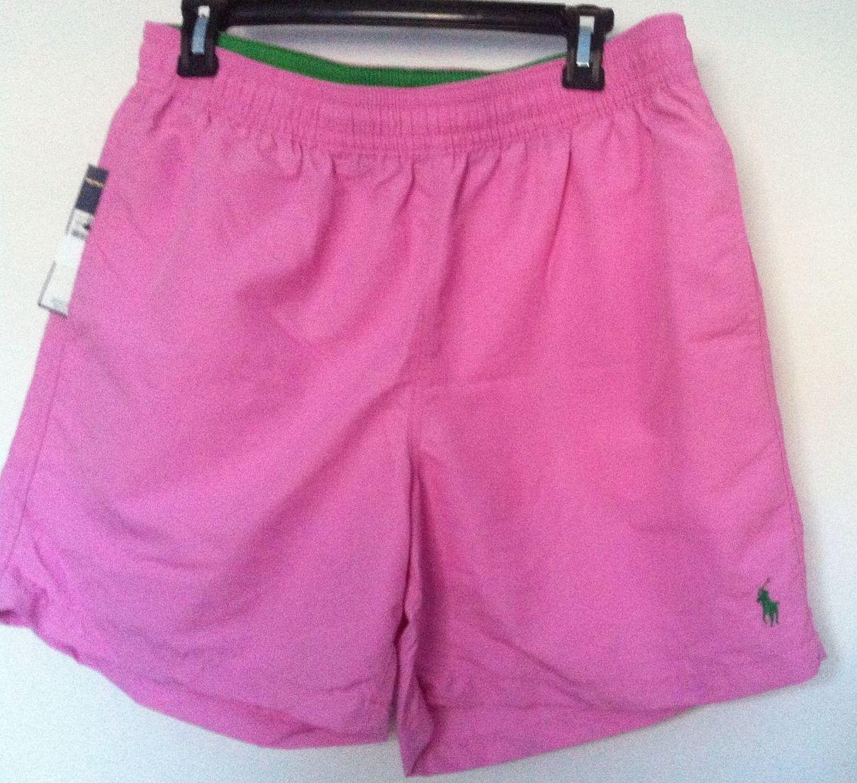 Polo Ralph Lauren Swimtrunks Pink Green Logo100% Nylon ShellSize 2XBNWT