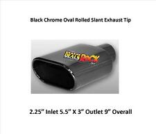 "Brand New Black Chrome Exhaust Tip Oval Rolled Slant Weld On 2.25"" IN 5.5X3"" Out"