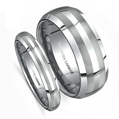 Matching Wedding Band Set Tungsten Rings Double Brush Matted Finish 8MM & 5MM