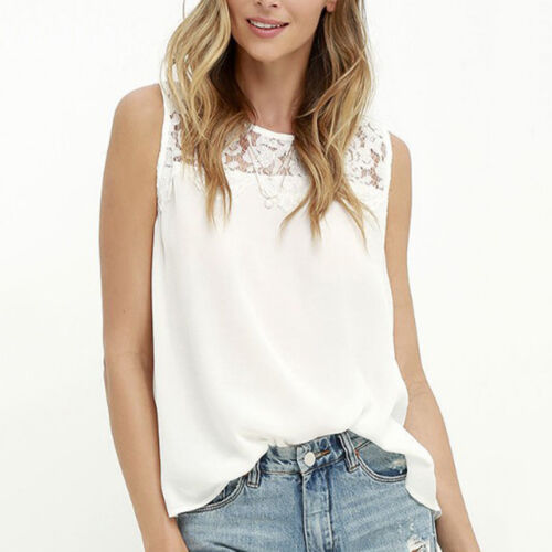 Women Summer Lace Vest Top Sleeveless Blouse Casual Tank Tops T-Shirt Chiffon XJ