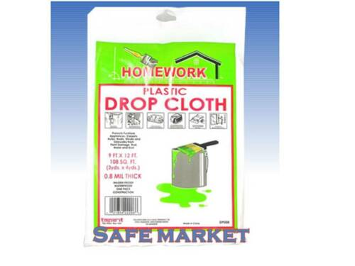 9x12 Clear Plastic Drop Cloth Painting Box Cover Construction Case of 48 /& 36