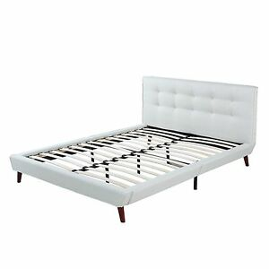 ivory linen low profile platform bed frame with tufted headboard full size ebay. Black Bedroom Furniture Sets. Home Design Ideas