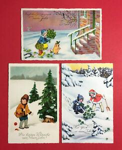 3-x-Kuenstler-Glueckwunsch-AK-NEUJAHR-1927-28-Kinder-mit-Gluecksschwein-47410
