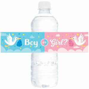 [24-Ct.] Glossy Baby Shower Water Bottle Label Party Favors by Eucatus