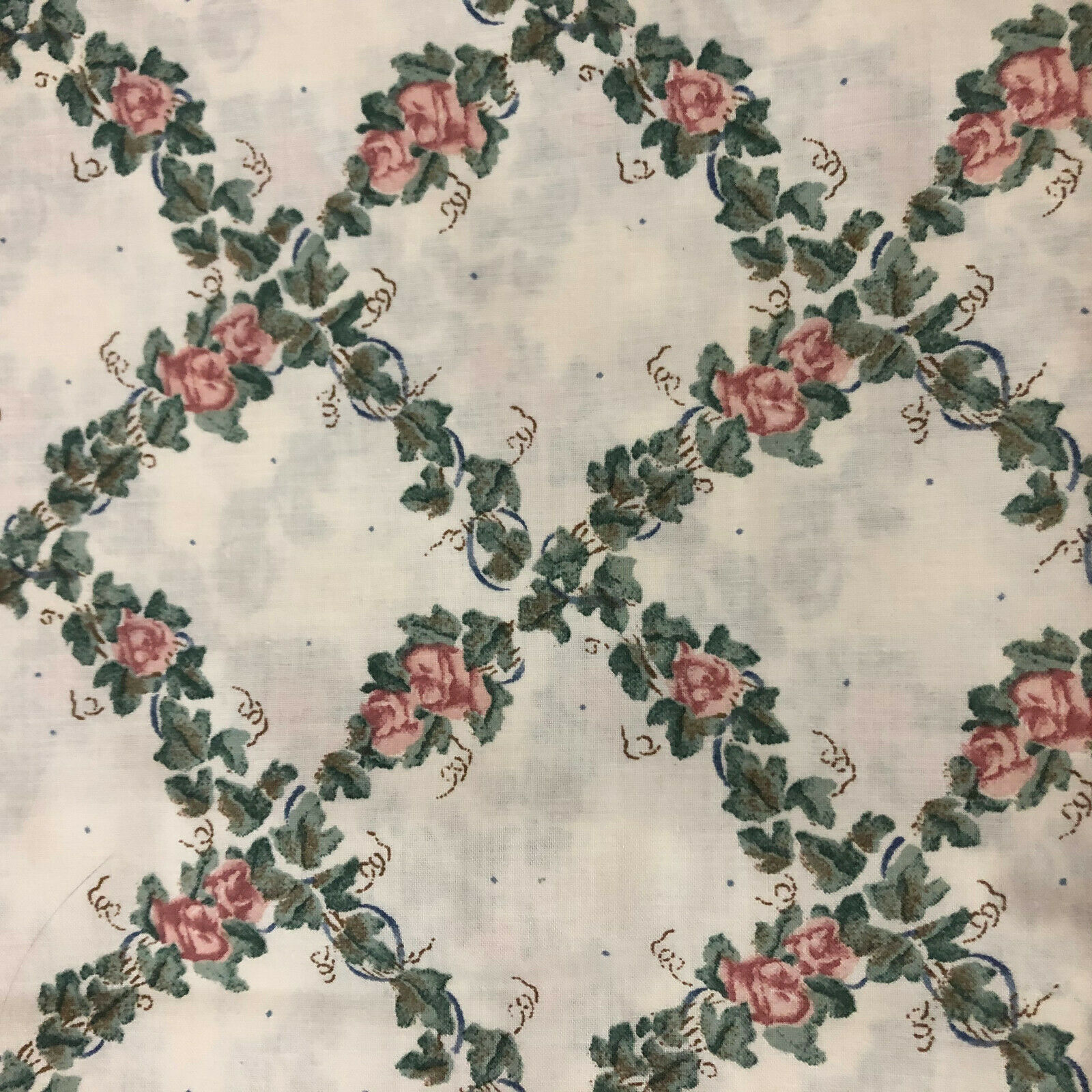 Image 1 - BTY Vintage Daisy Kindgom Floral Ivy 1994 COTTON FABRIC
