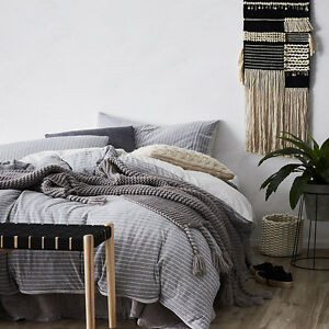 NEW-Home-Republic-Ultra-Soft-Jersey-Stripe-Bedlinen-Grey-Quilt-Cover