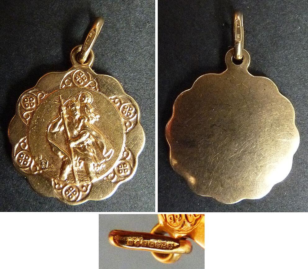 Medaille St Christophe Anhänger gold Massiv UNOAERRE Italien