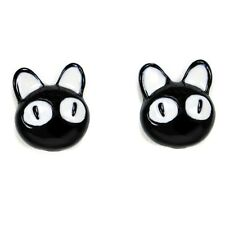 LUCKY BLACK CAT EARRINGS Post Stud Pair Enamel Kitty NEW Jewelry Gift Halloween