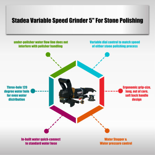 Stadea Stone Wet Polisher Variable Speed For Concrete Countertop Stone Polishing