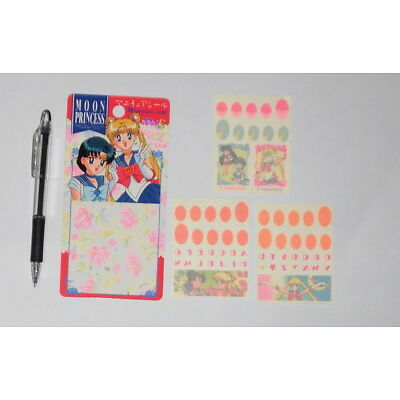 """/""""H* Sailor Moon S Nail Sticker Manicure Seal 1994 Made in Japan Mercury Mars"""