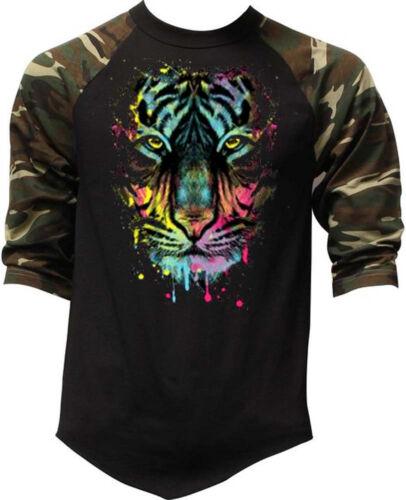 Dripping Tiger Camo Baseball Raglan T Shirt Muscle Workout beast wildlife animal