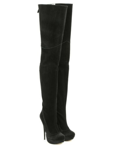 Leather Black Perles Platform Stiefel Mori 38 Boots Heels Bottes Overknee Noir 6x4wC6qYZ