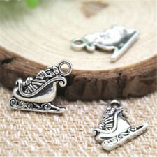 4 pcs Tibet silver Santa Sleigh Charms 19x17mm DIY Jewellery Making crafts