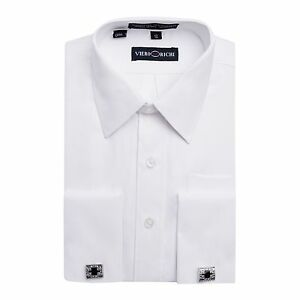 Boys VIERO RICHI French Cuff White on White Cufflink Dress Shirt ...