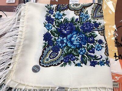 120x120 cm Pavlovo Posad style Scarf Russian Shawl Wool with Fringe
